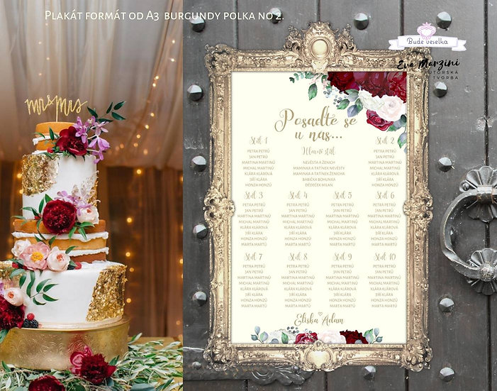 Plakát Zasedací plán Burgundy Polka, ivory, A3