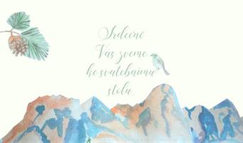 Pozvánky ke stolu Hory v zimě - v krémové, 90x50/100mm tiš