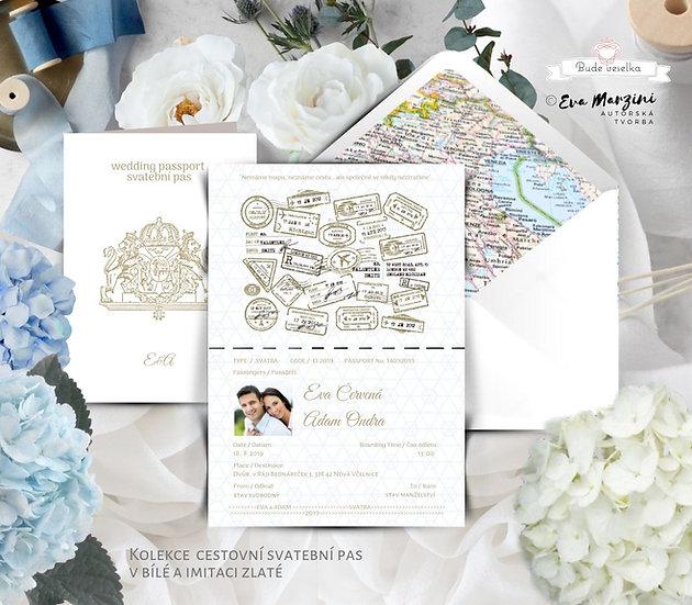 Svatební oznámení jako svatební pas v bílé a zlaté, obsahuje Boarding pass jako pozvánku ke svatebnímu stolu a obálku s mapou