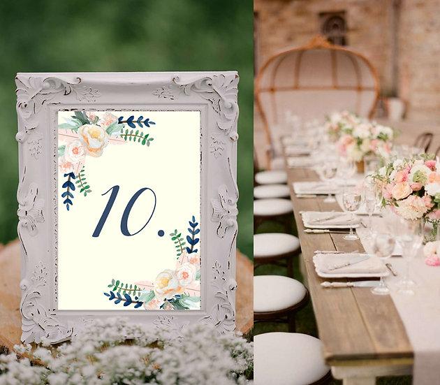 Čísla 1-10 na stoly na svatbu Boho růže no.1