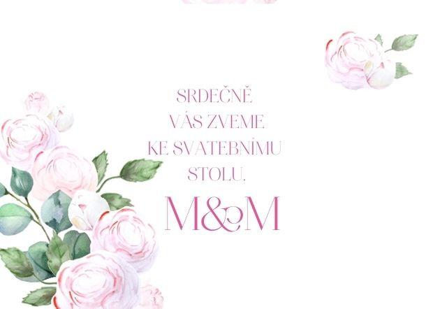 Svatební pozvánka Pivoňky Vintage, fuchsia 74x105 mm