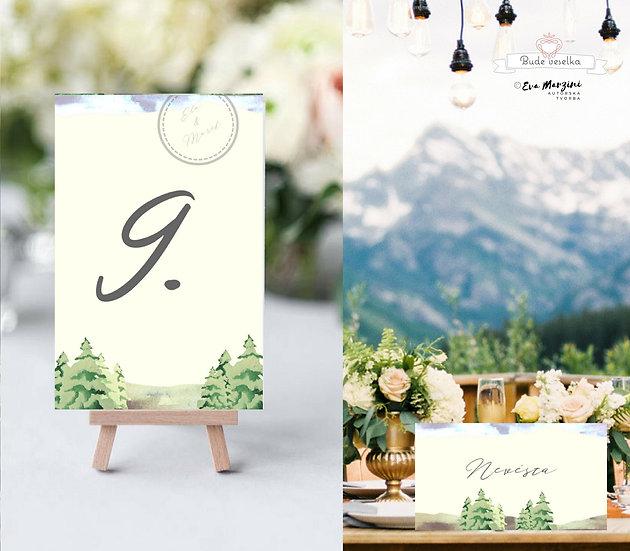 Čísla 1-10 na stoly Lesní palouk, v krémové