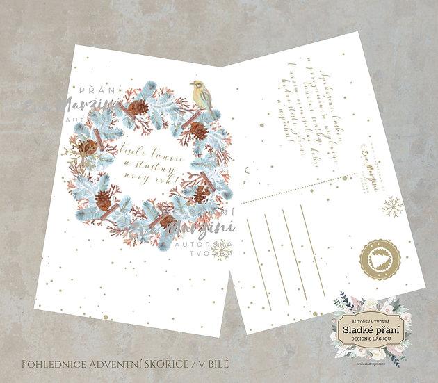 3ks Vánoční pohled Adventní skořice, v bílé - 120x170 - tištěné