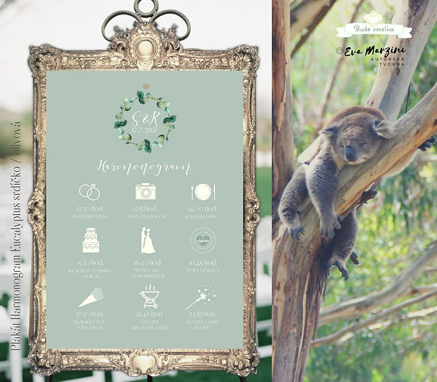 Harmonogram Eucalyptus srdíčkový - olivová, A3