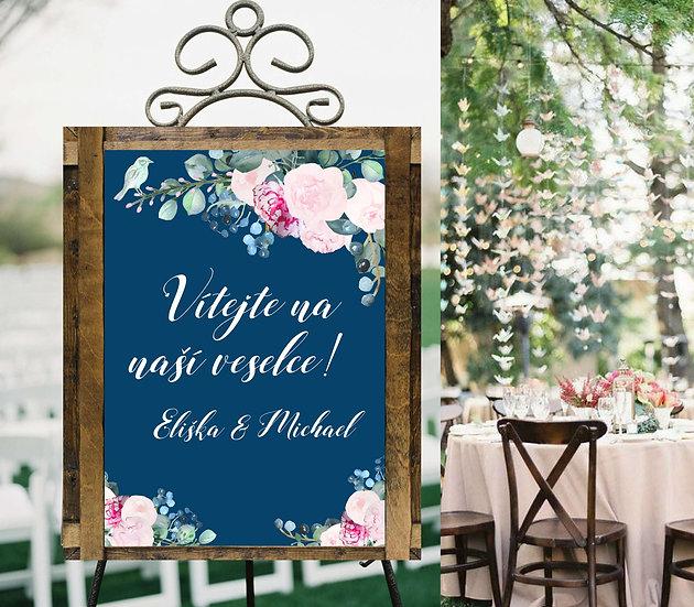 Plakát Vítejte Pivoňky No.2, královská modrá, A3