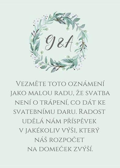 Svatební kartičky na dary Lesněnka - mint, 75x105 mm
