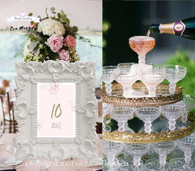 Čísla 1-10 na stoly Pivoňky ve zlaté kaligrafii, pudr rose
