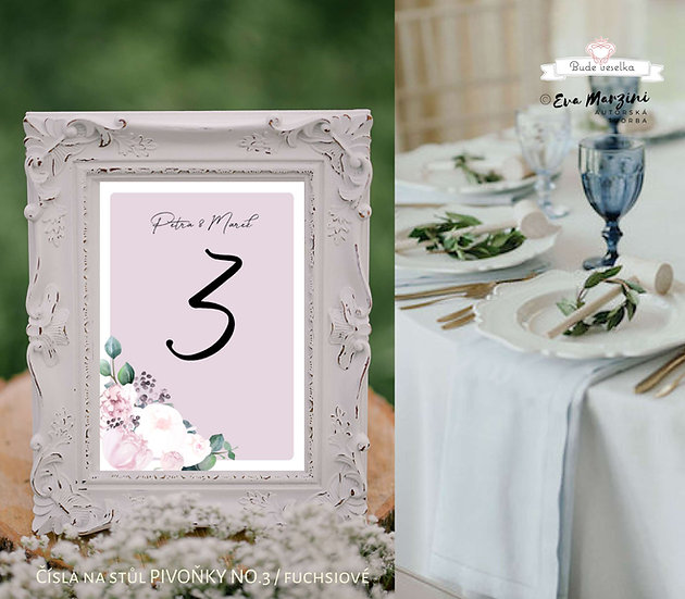 Čísla 1-10 na stoly Pivoňky No.3, fuchsiové