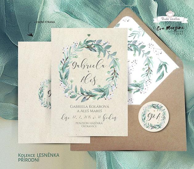 Svatební oznámení Lesněnka, juta - 120x170 - tištěné