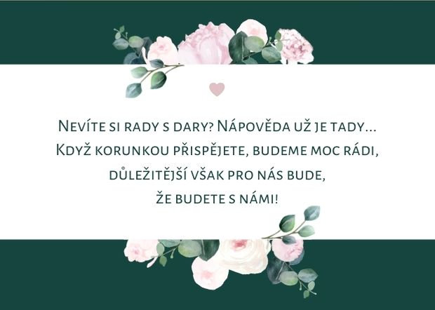 Kartička na dary Boho Pivoňky, zelená, A7