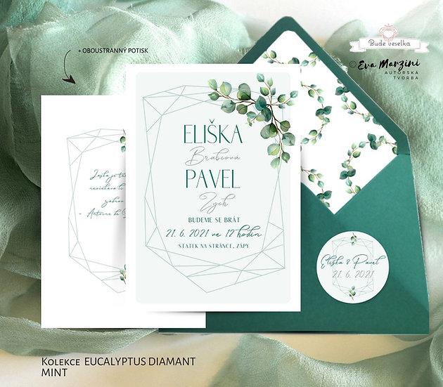 Svatební oznámení zelené mint s lístky a mnohoúhelníkem ve tvaru diamantu se zlatým písmem