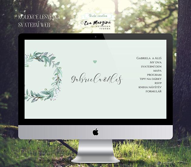 Svatební web Lesněnka s věnečkem z lístků v barvě mint pro přírodní a rustic svatby.