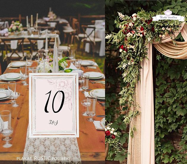 Čísla 1-10 na stoly Rustic polibek, pudr