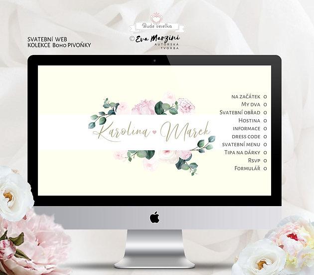 Svatební web Boho Pivoňky, ivory