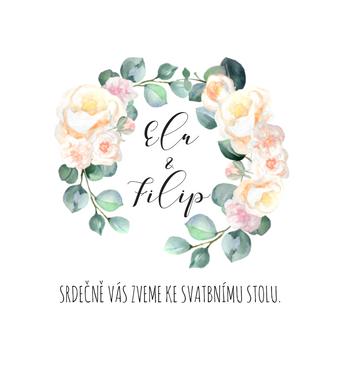 Pozvánky Meruňkové růže, v bílé  - 90x100mm tištěné