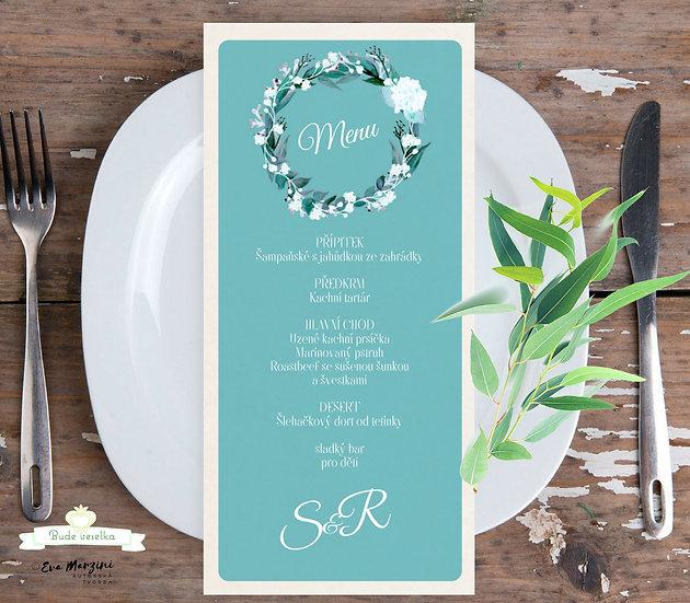 Svatební menu Menu Eucalyptus - oliva, 99x210 mm tištěné