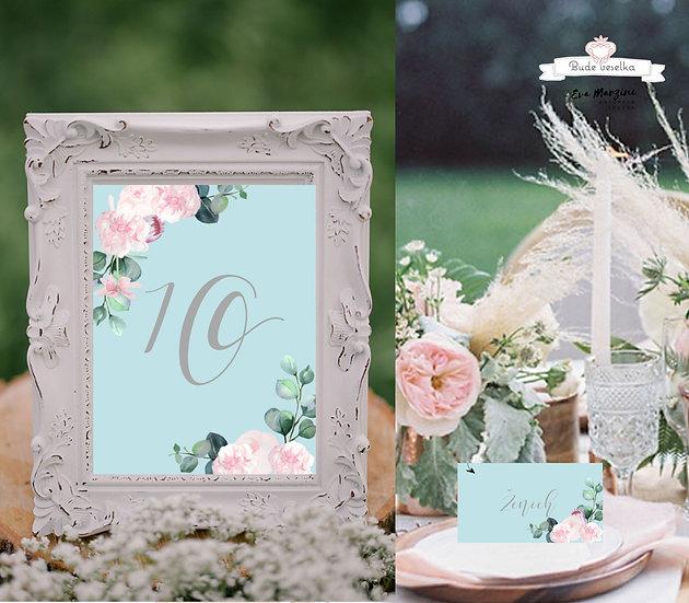 Čísla 1-10 na stoly Šípkové růže, tyrkysová a bílé