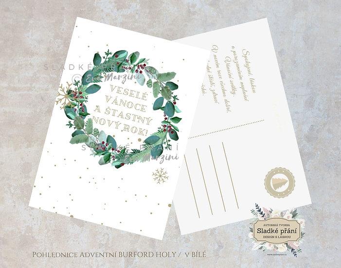 Vánoční pohled Adventní Burford Holy v bílé - 120x170 - tištěné