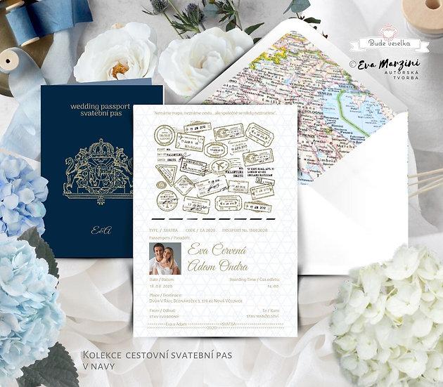 Svatební oznámení jako svatební pas modré a zlaté, obsahuje Boarding pass jako pozvánku ke svatebnímu stolu a obálku s mapou