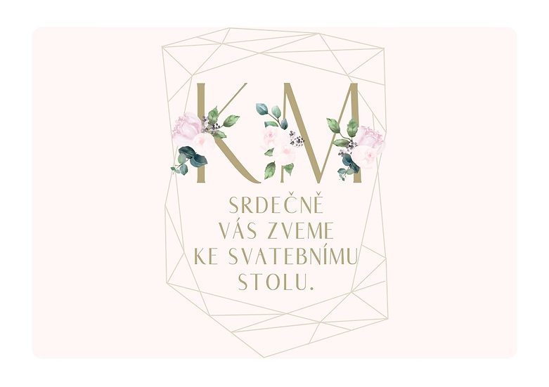 Svatební pozvánka Pivoňky diamant, pudr 74x105 mm