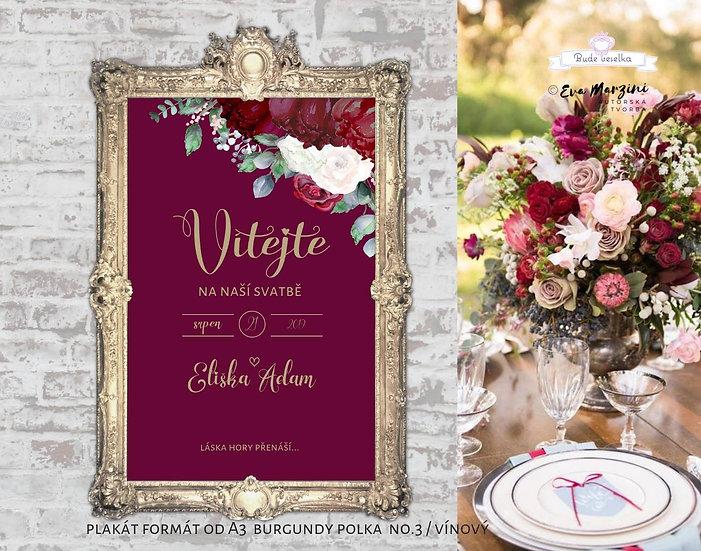 Plakát Vítejte Burgundy Polka, vínový, A3