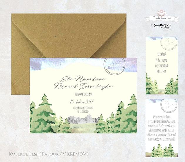 Svatební oznámení ivory s motivem hor, lesa a oblohou, v rustikálním a vintage stylu