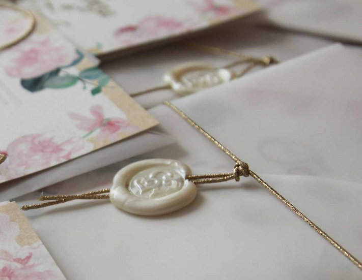 Perleťová pečeť + zlatá/stříbrná šňůrka