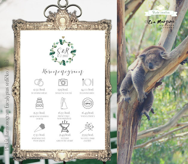 Harmonogram Eucalyptus srdíčkový - v bílé, A3