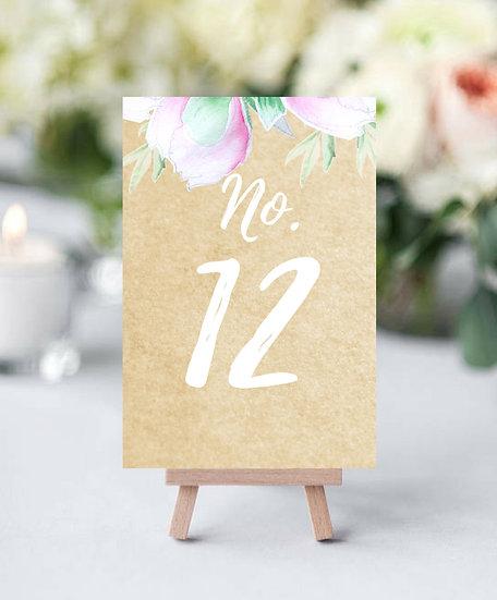 Čísla 1-10 na stoly Poupě No.2, přírodní bílé