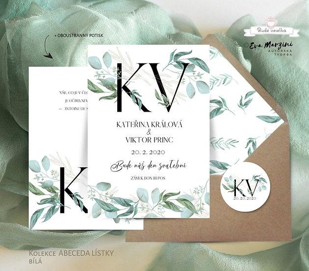 Svatební oznámení Abeceda s lístky, bílá - 120x170 - tištěné