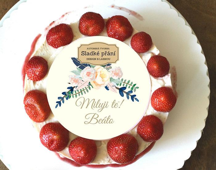 Jedlé blahopřání na dort - Boho růže, No.3