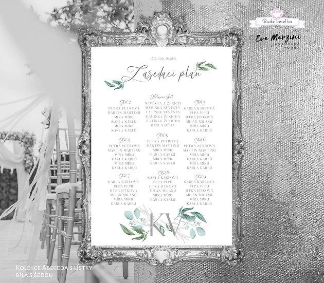 Plakát Zasedací plán Abc s lístky, A3 - šedá - tištěný