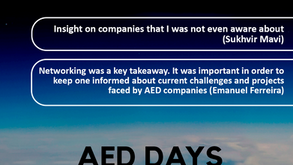 """AED Careers Days Feedback """"What were your key take aways from this event?"""""""