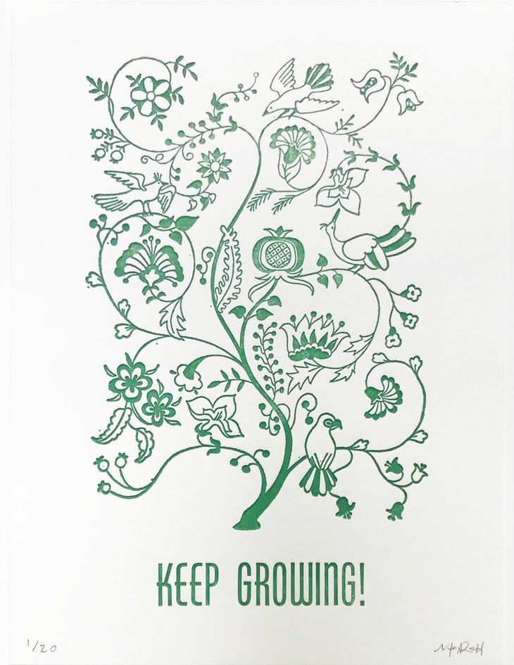 """Megan Redd  """"Keep Growing!"""" Letterpress print"""