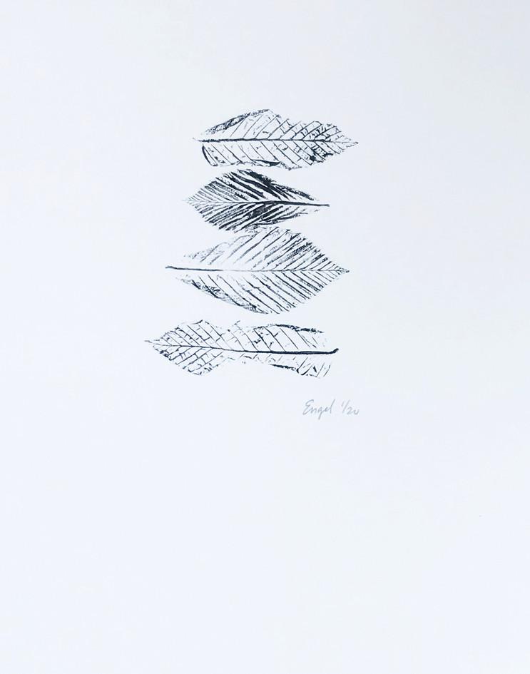 """Roberta Engel  """"Leaf Out"""" Blockprint, water-based ink"""