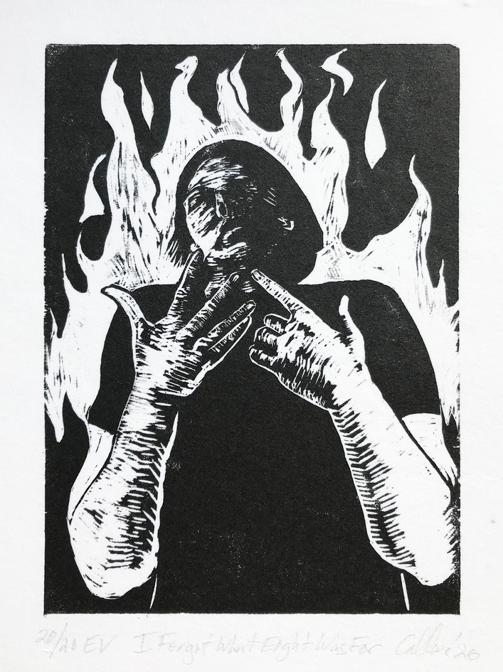"""Amy Callner  """"I Forget What Eight Was For"""" Woodblock print"""