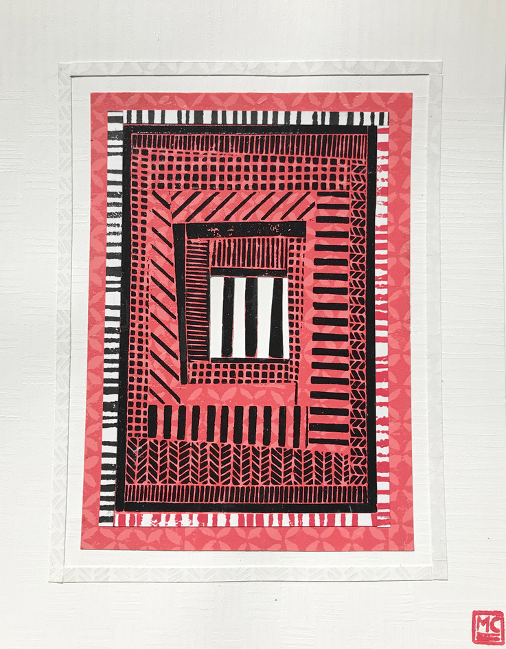 """Michele Casto  """"Log Cabin (Five Variations)"""" Woodcut with linocut borders"""