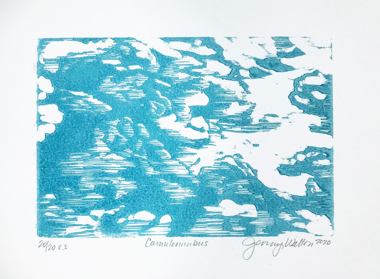 """Jenny Walton  """"Cumulonimbus"""" Woodcut"""