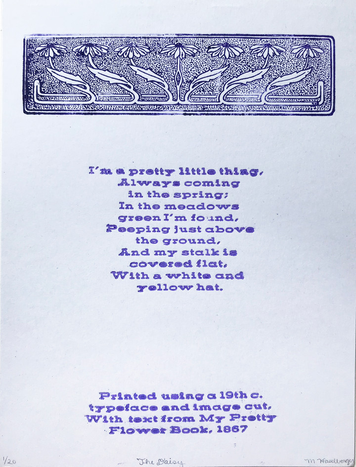 """Mallory Haselberger  """"The Daisy"""" Letterpress print"""