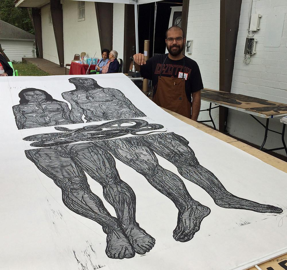 Print by Jacoub Reyes at Atlanta Printmakers Studio.