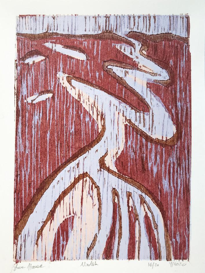 "Lara Hause  ""Noatak"" 4-color woodblock"