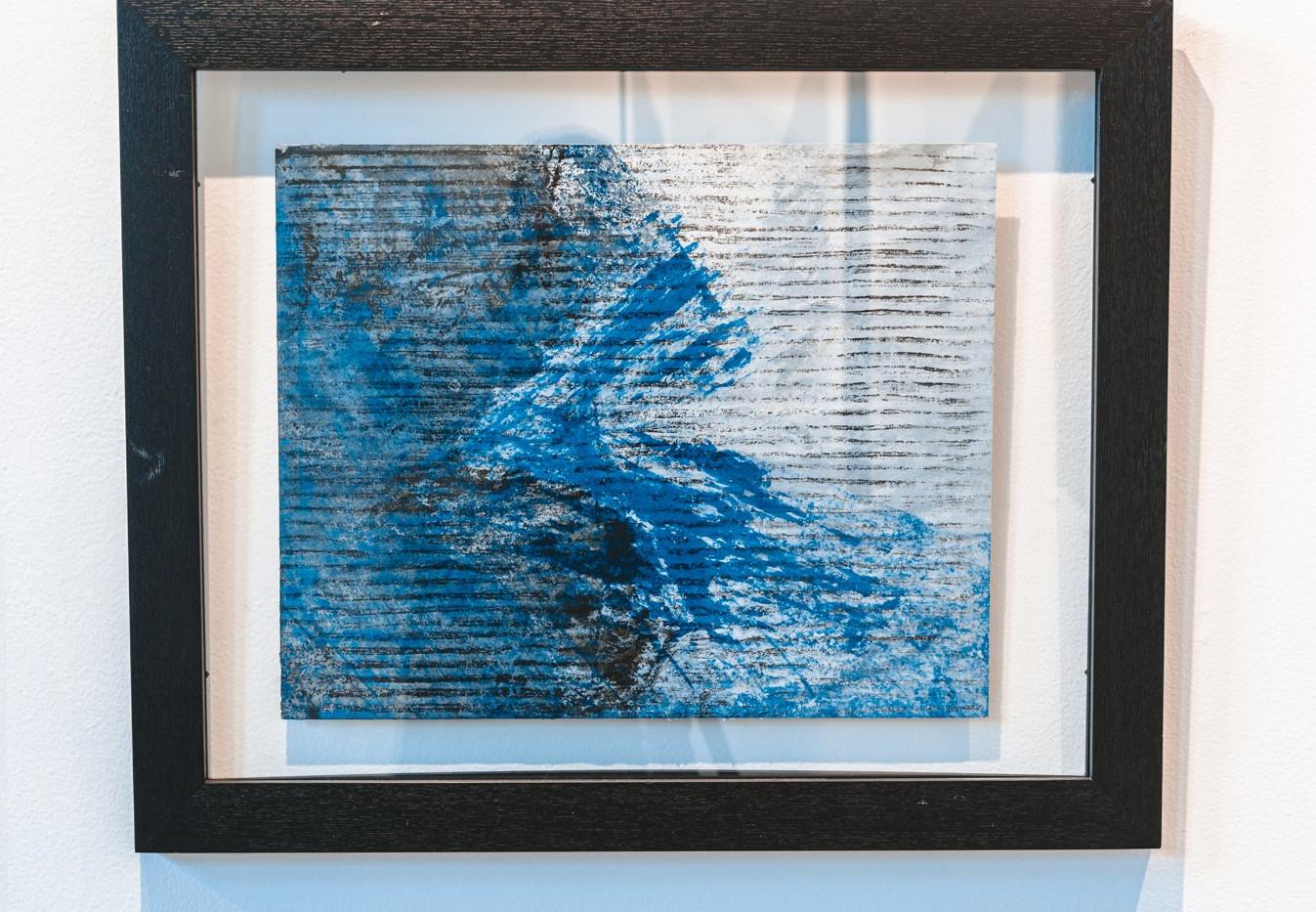 "IRA TATTELMAN  ""Vardar River Cascade""  Monoprint on Fabriano Tiepolo paper 18.75"" x 22.75"" framed 2019 $425  Photograph by StereoVision"