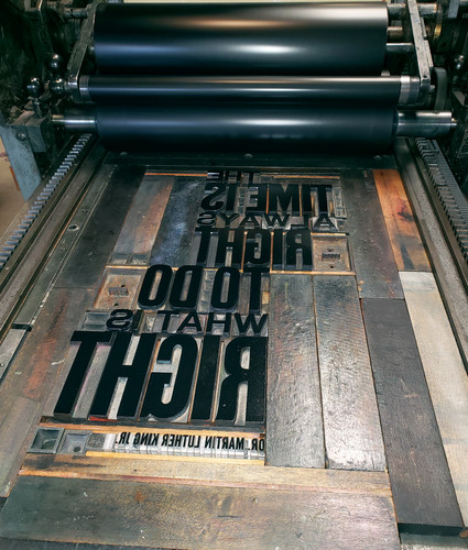Letterpress type set for printing