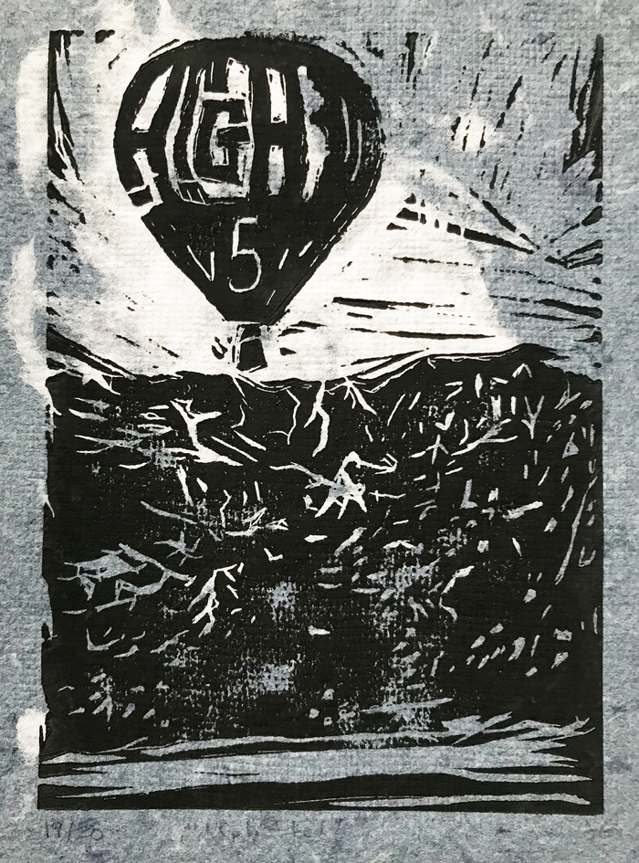 """Jennifer Galvin  """"Uplifted"""" Linocut on handmade paper made from recycled jeans and t-shirts"""