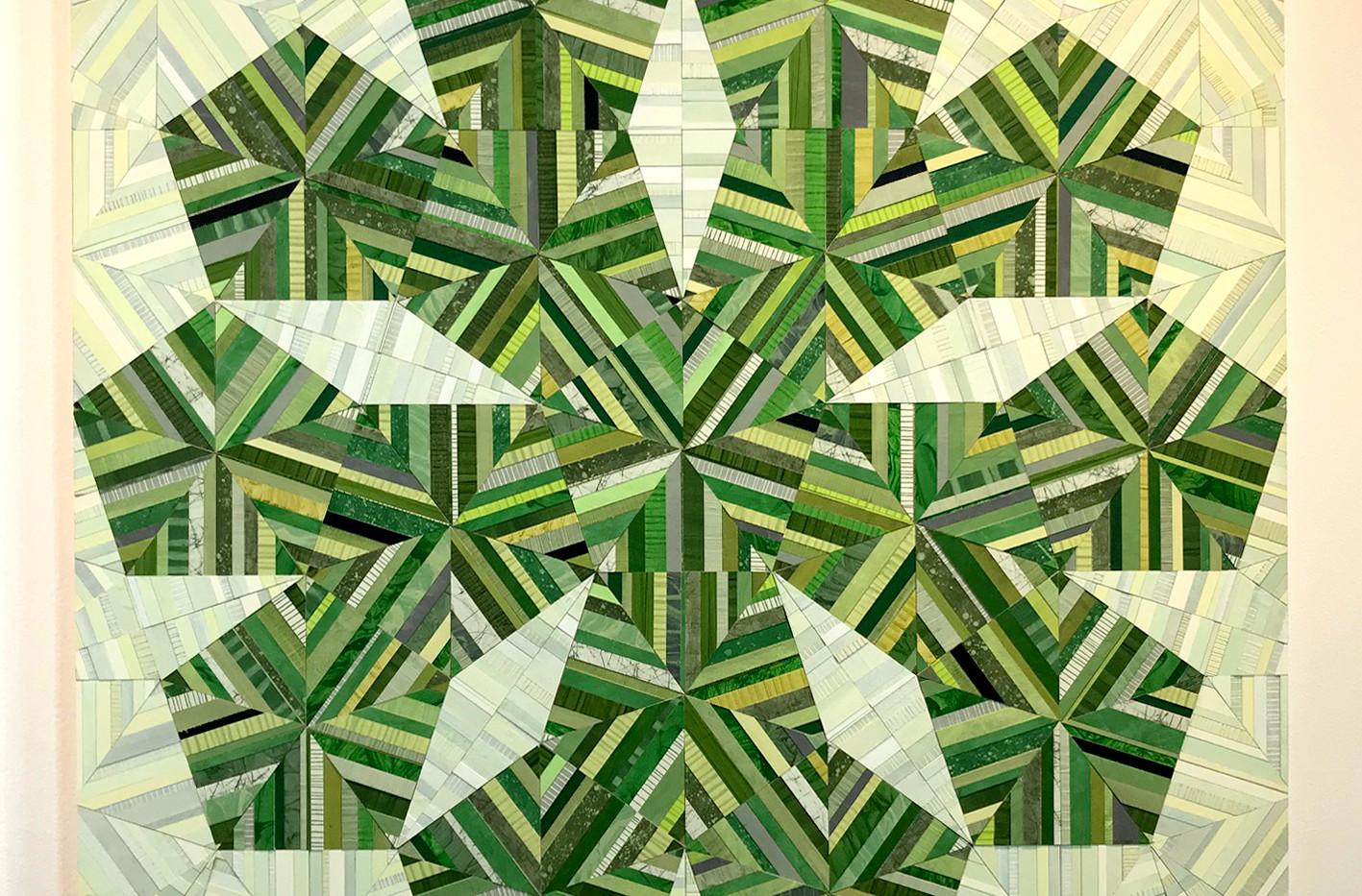 "ELLEN HILL  ""Big Green Flower""      Acrylic on birch on panel 35.5"" x 37.5"" 2015 $3,500  Courtesy of Steven Scott Gallery, Baltimore, MD"