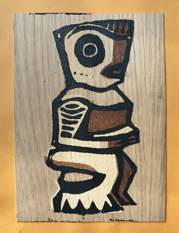 "Jared Davis  ""Tiki"" Woodblock and stencil print on veneer"
