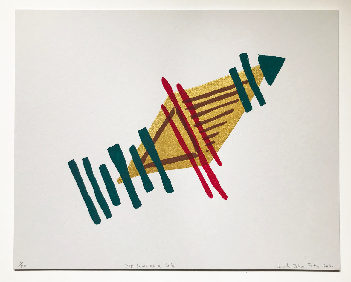 "Jamila Zahra Felton  ""The Loom as a Portal"" Screenprint, acrylic ink"