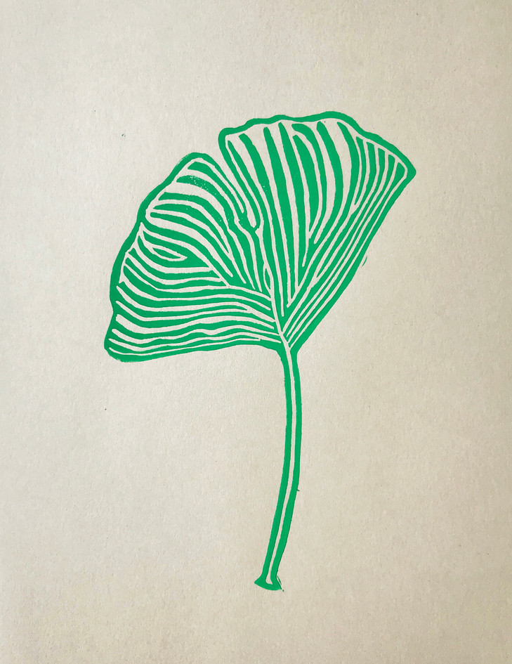 "Maggie Wessling  ""Ginkgo Leaf"" Linocut"