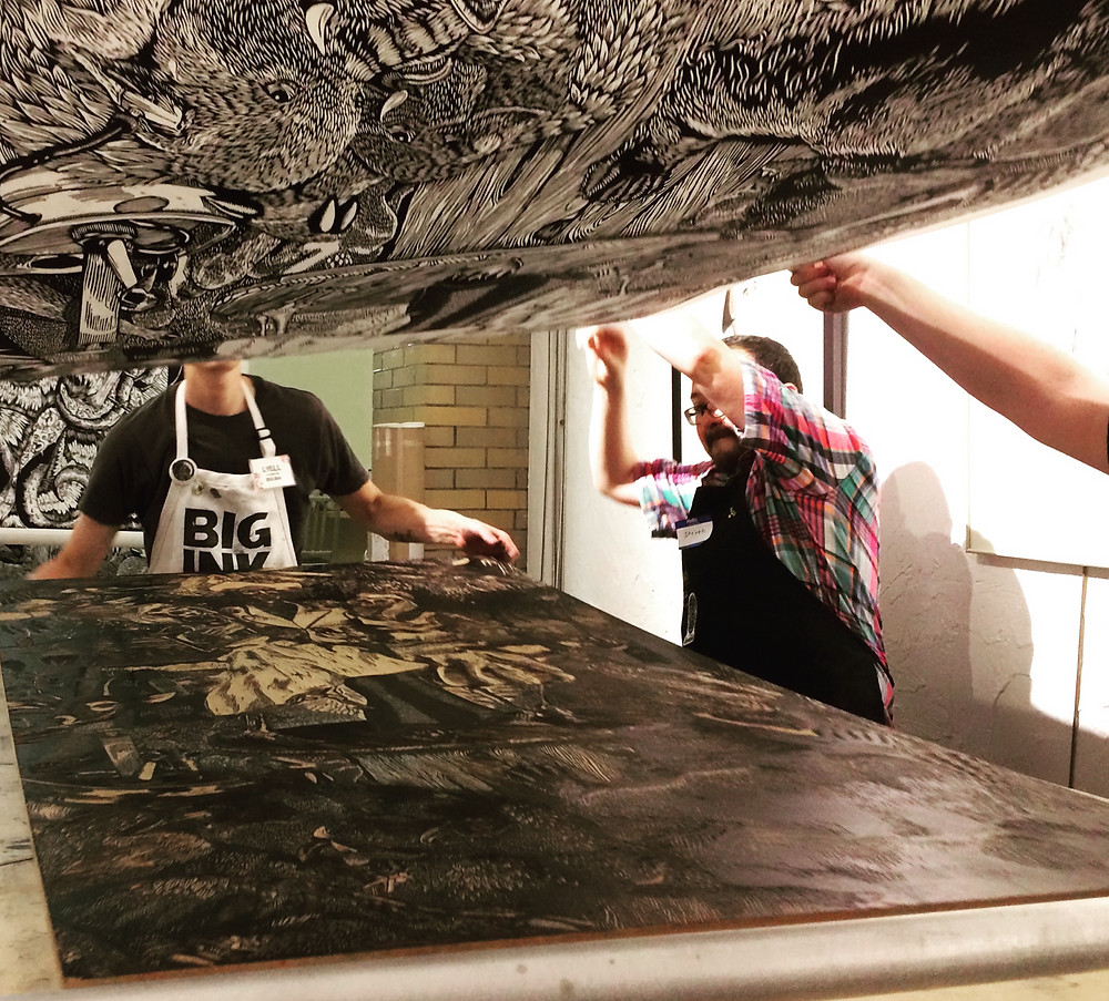 Printing work by Zachariah Schmitt at Maryland Hall for the Creative Arts.