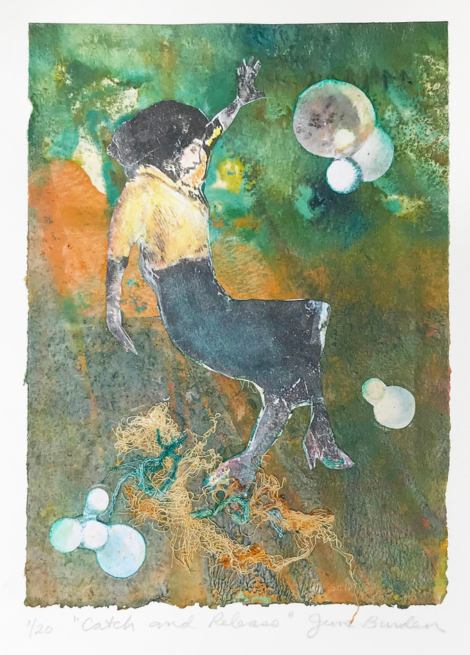 """June Burden  """"Catch and Release"""" Encaustic monoprint and mixed media collage"""